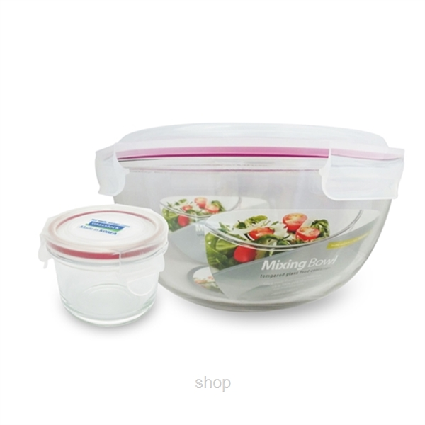 [Clearance] Glasslock 2000ml Mixing Bowl + 160ml Round Container - GL1741-0