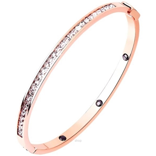 Celovis Arya Single Row Zirconia Insets with Closed Hinged Bangle in Rose Gold-0