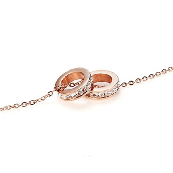 Celovis Eloise Zirconia Twin Rings Pendant Necklace (Rose Gold)-1