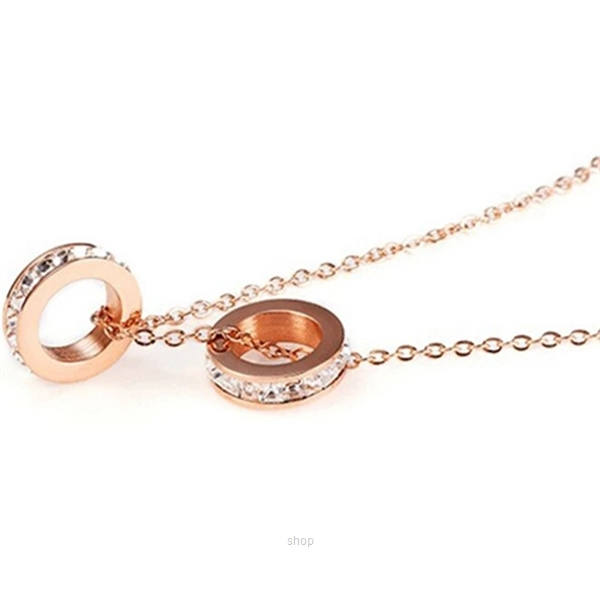 Celovis Eloise Zirconia Twin Rings Pendant Necklace (Rose Gold)-2
