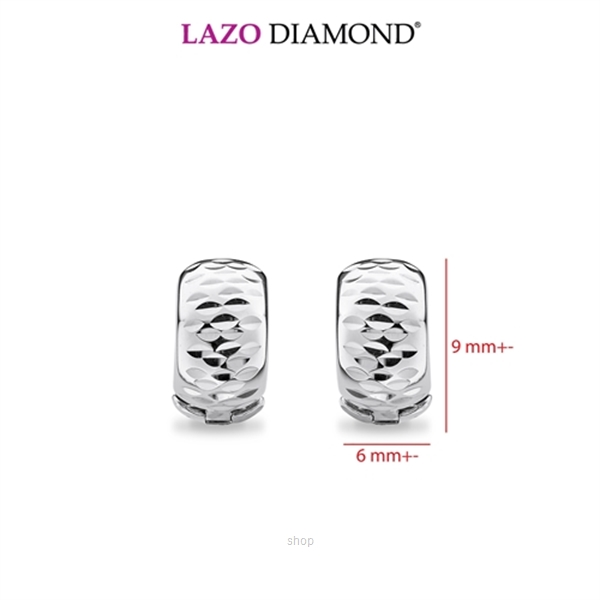 Lazo Diamond 9K White Gold Hoop Earrings - 8E2238-0