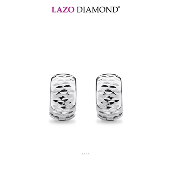 Lazo Diamond 9K White Gold Hoop Earrings - 8E2238-1