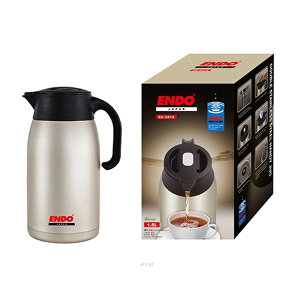 Endo 1.5L Double Stainless Steel Handy Jug + Tea Strainer - CX-2015-2