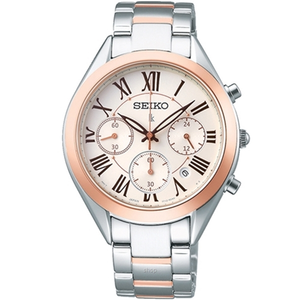 Seiko Lukia SRWZ12P1 Ladies Quartz Chronograph Two-Tone Stainless Steel Bracelet Watch-0