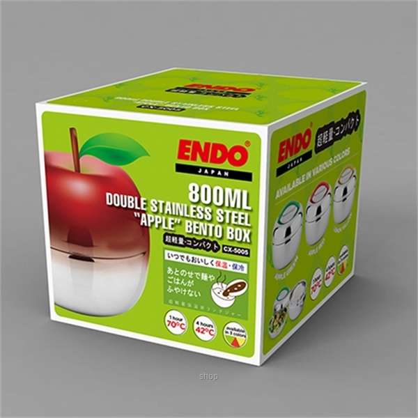 "Endo 800ml ""Apple"" Stainless Steel Food Jar - CX-5005-5"