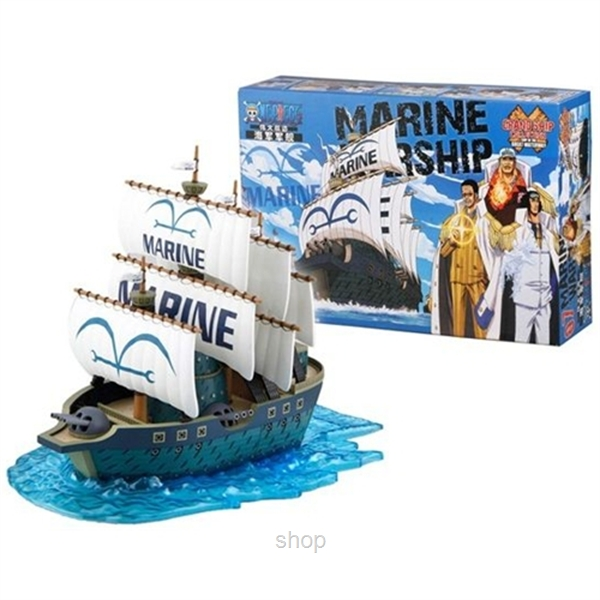 Dlittle Anime One Piece Marine Ship Model-0