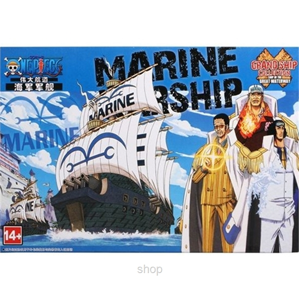 Dlittle Anime One Piece Marine Ship Model-3