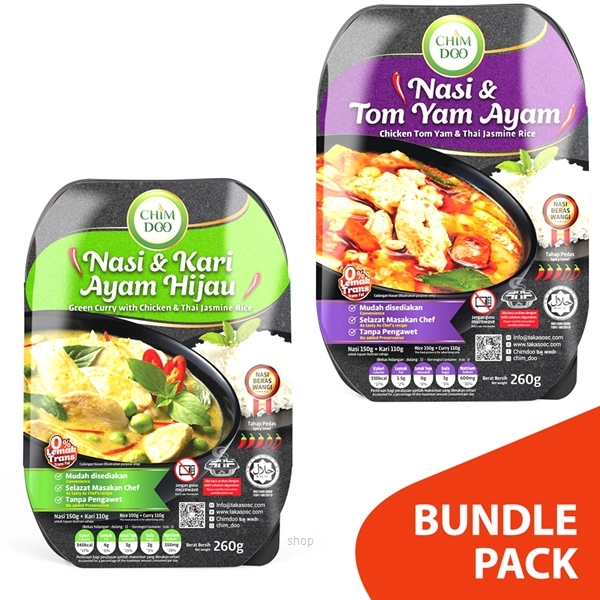[Bundle Pack] ChimDoo Chicken Tom Yam and Thai Jasmine Rice 260g + Green Curry with Chicken and Thai Jasmine Rice 260g-0