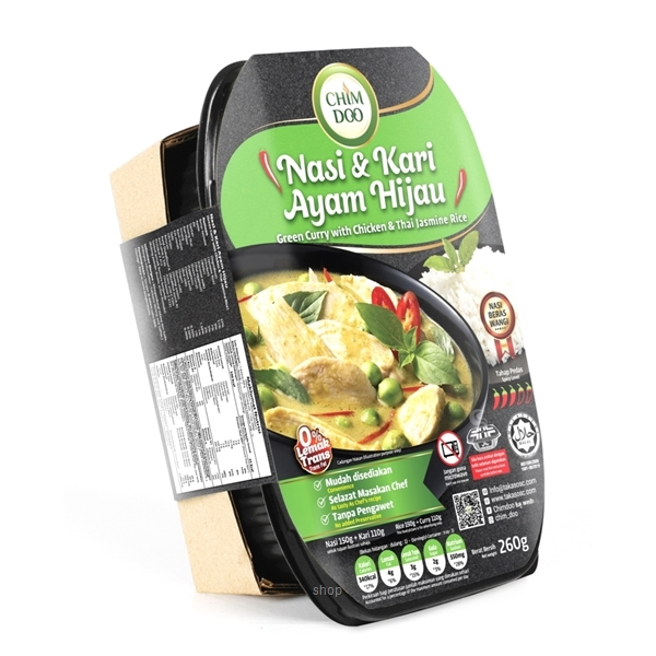 [Bundle Pack] ChimDoo Chicken Tom Yam and Thai Jasmine Rice 260g + Green Curry with Chicken and Thai Jasmine Rice 260g-2