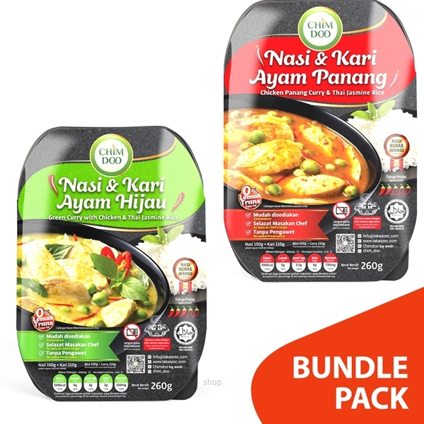 [Bundle Pack] ChimDoo Chicken Panang Curry and Thai Jasmine Rice 260g + Green Curry with Chicken and Thai Jasmine Rice 260g-0