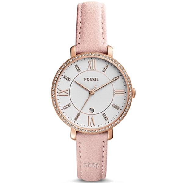 Fossil ES4303 Women Jacqueline Three-Hand Date Blush Leather Watch-0