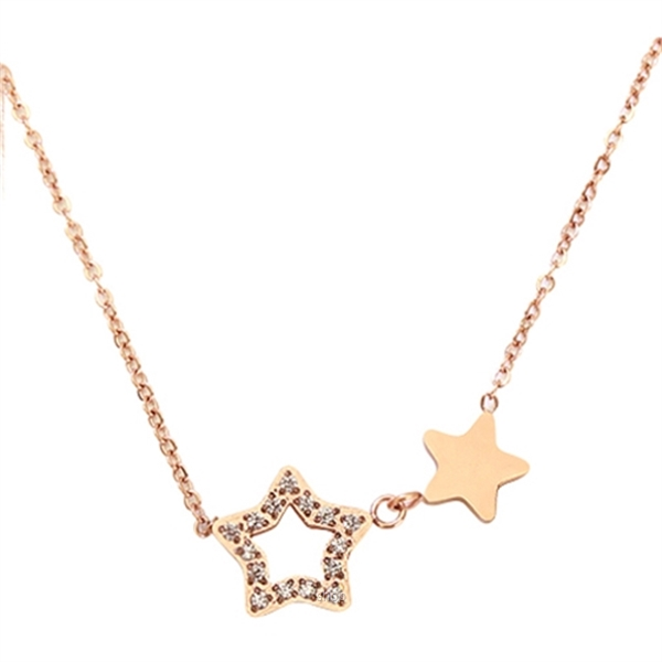 Celovis Titania Dua-Star with Dias 18K Rose Gold Necklace - CNE-TITANIA-RG-0