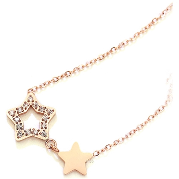 Celovis Titania Dua-Star with Dias 18K Rose Gold Necklace - CNE-TITANIA-RG-1