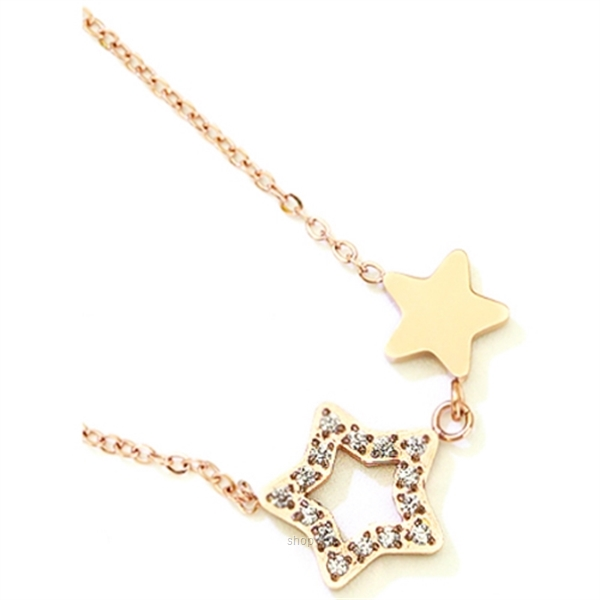 Celovis Titania Dua-Star with Dias 18K Rose Gold Necklace - CNE-TITANIA-RG-2
