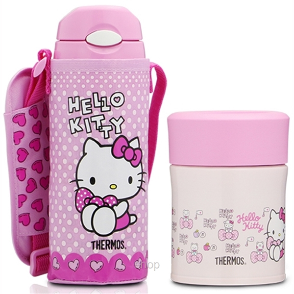 Thermos 0.40L Hello Kitty Iced Bottle with Pouch + 0.3L Food Jar Gift Set - GSKT-FHL+JBJ-0