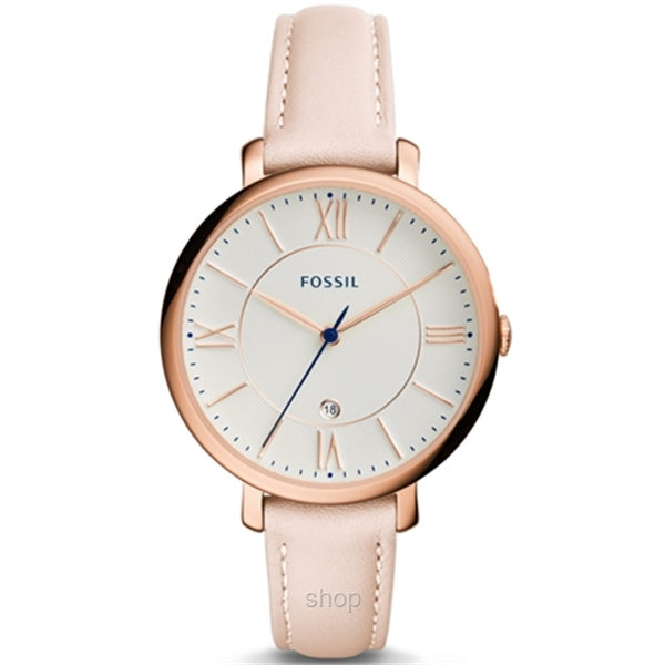 Fossil ES3988 Women Jacqueline Three-Hand Date Blush Leather Watch-0