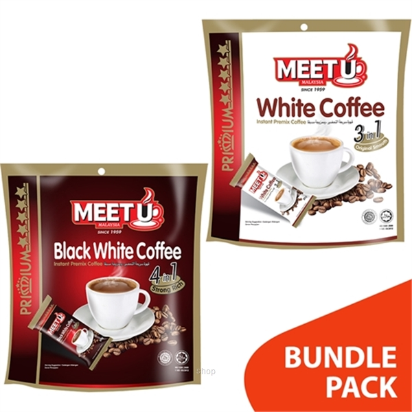 Meet U Premium Gold Combo 1 : White Coffee 3 In 1  (10 x 20gm) + Black White Coffee 4 In 1 (10 x 20gm)-0