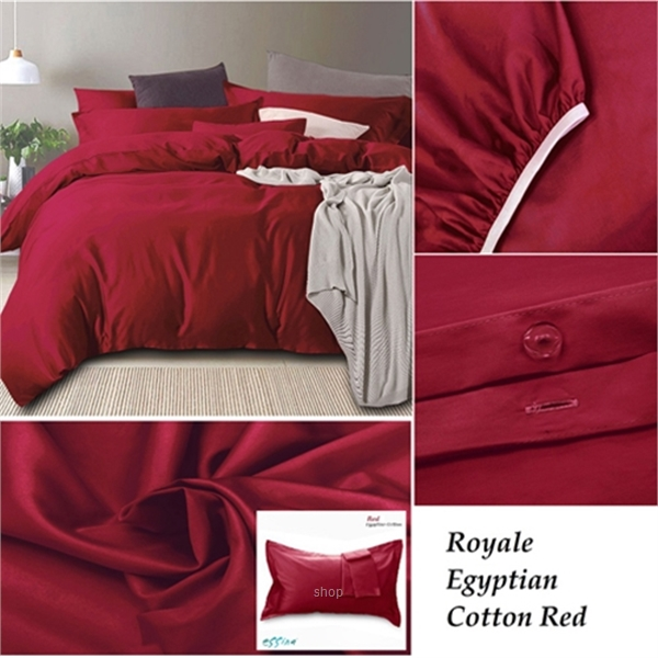 Essina Royale Egyptian 100% Cotton 950TC Quilt Cover Set Red - QJ006618-6