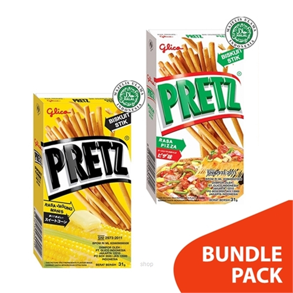 [BUNDLE] Glico Pretz Pizza 10's x 31gm + Sweet Corn 10's x 31gm-0