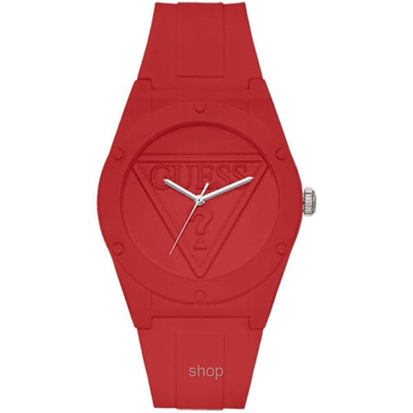 Guess W0979L3 Unisex Retro Pop Red Silicone Strap Watch-0