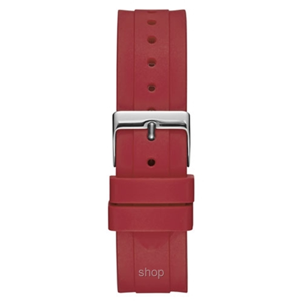 Guess W0979L3 Unisex Retro Pop Red Silicone Strap Watch-2