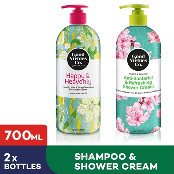 [Bundle of 2] GVC Healthy Hair and Scalp Shampoo for All Hair Types + Anti-Bacterial & Refreshing Shower Cream (700ml)-0