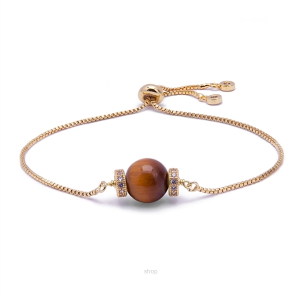 Kelvin Gems Luna Golden Tiger Eye Adjustable Bracelet - Brown-0