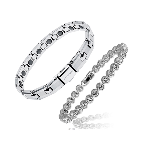 Kelvin Gems Together Couple Bracelet & Tungsten Gift Set-0