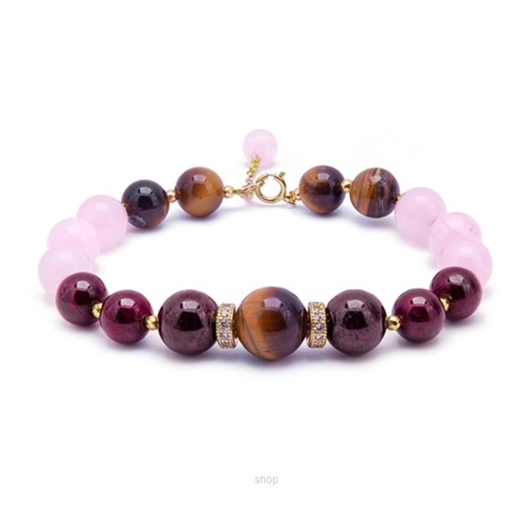 Kelvin Gems Olivia Rose Quartz and Tiger Eyes Bracelet -Rose/Brown-0