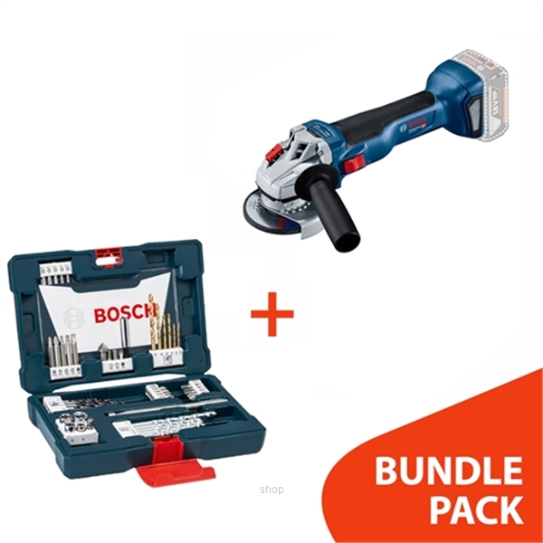 [BUNDLE] Bosch GWS 18V-10 SOLO Cordless Brushless Angle Grinder  +  48pcs V-Line Titanium Set For Drilling & Screwdriver - 06019J40K0 + 2607017411-0