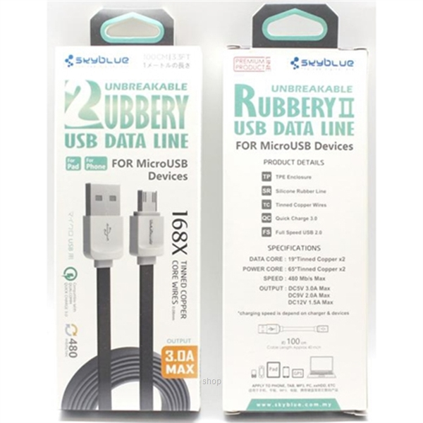 Skyblue Rubbery 2 (Android) Premium Micro USB Data Cable 100cm Black-1