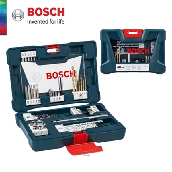 [BUNDLE] Bosch GSB 18V-50 Brushless Impact Drill Driver Solo  +  48pcs V-Line Titanium Set For Drilling & Screwdriver - 06019H5182 + 2607017411-2
