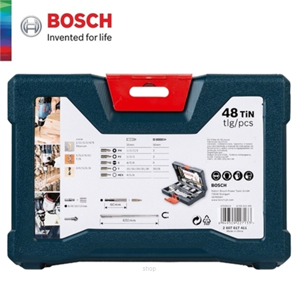 [BUNDLE] Bosch GSB 18V-50 Brushless Impact Drill Driver Solo  +  48pcs V-Line Titanium Set For Drilling & Screwdriver - 06019H5182 + 2607017411-5