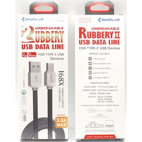 Skyblue Rubbery 2 (Type-C) Premium USB Data Cable 100cm Black-1