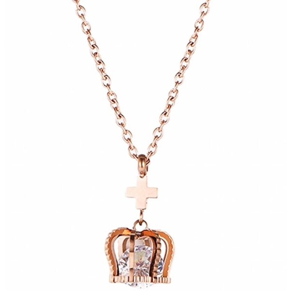 Celovis Imperial Crown with Zirconia Stone Pendant Necklace in Rose Gold-0