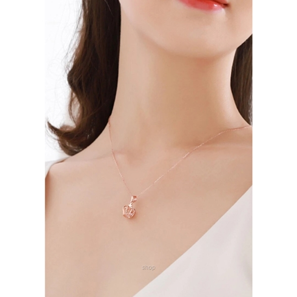 Celovis Imperial Crown with Zirconia Stone Pendant Necklace in Rose Gold-2