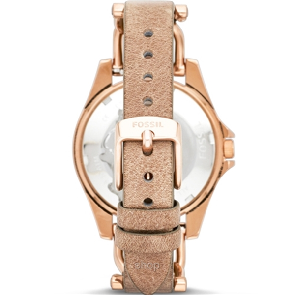 Fossil ES3466 Women's Riley Multifunction Rose-Tone and Sand Leather Watch-1