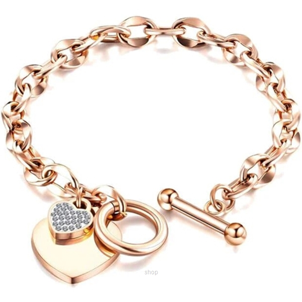 Celovis La Devotion CZ Heart Tag Pendant in Rose Gold Toggle Clasp Bracelet-0