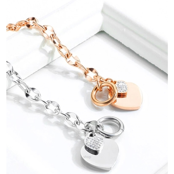 Celovis La Devotion CZ Heart Tag Pendant in Rose Gold Toggle Clasp Bracelet-1