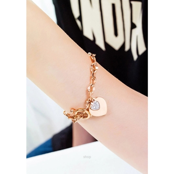 Celovis La Devotion CZ Heart Tag Pendant in Rose Gold Toggle Clasp Bracelet-2