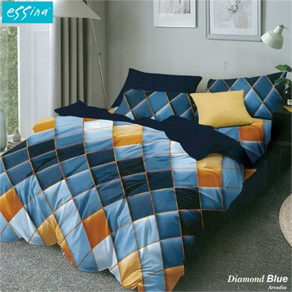 Essina Diamond Blue Comforter & Fitted Bed Sheet Set Cadar Microfiber Set (33cm High Mattress)-0