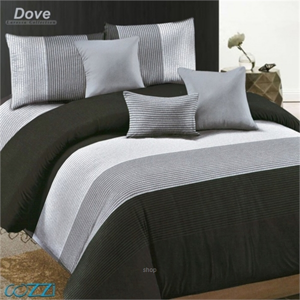 Essina Dove Microfiber Plush 500TC Fitted Sheet Set with Comforter-0