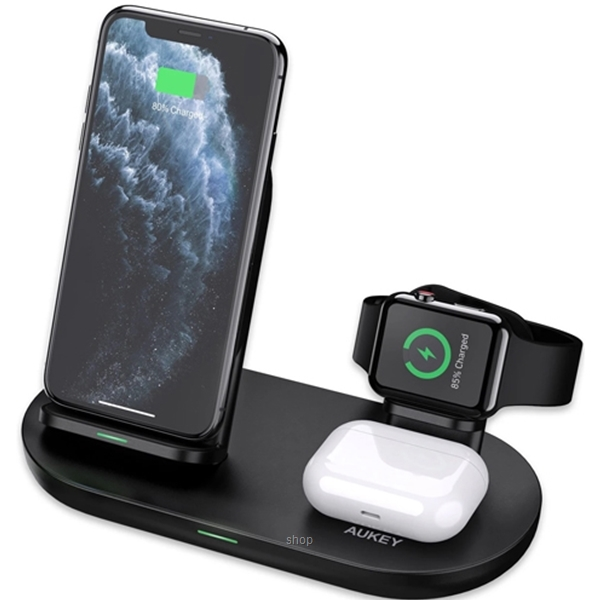 [Pre Order] Aukey 3 in 1 AirCore Wireless Charging Station Stand Charging Dock for iPhone 12 Pro and Apple Watch & AirPods Pro - LC-A3-0