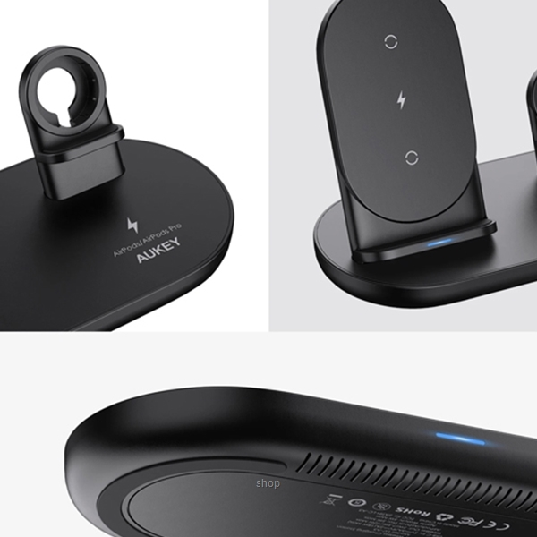 [Pre Order] Aukey 3 in 1 AirCore Wireless Charging Station Stand Charging Dock for iPhone 12 Pro and Apple Watch & AirPods Pro - LC-A3-1