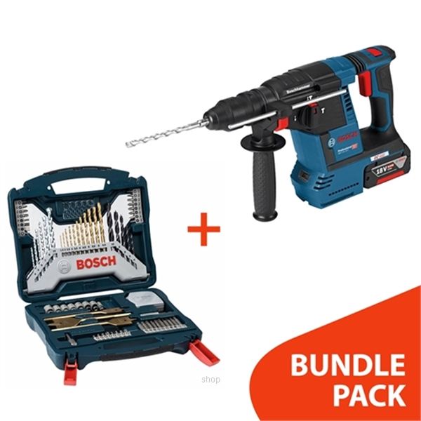[BUNDLE] Bosch GBH 18V-26 Professional SOLO Cordless Rotary Hammer + 70pcs X-line Titanium Set - 0611909000 + 2607017412-0
