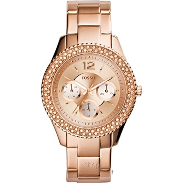 Fossil Women Stella Multifunction Rose-Tone Stainless Steel Watch - ES3590-0