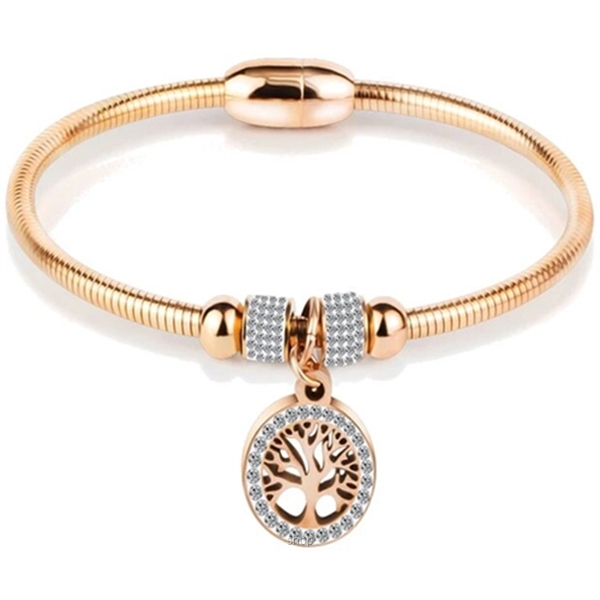Celovis Eden Zirconia Family Tree with Magnetic Clasp Bangle (Rose Gold) - CBA-EDEN-RG-0