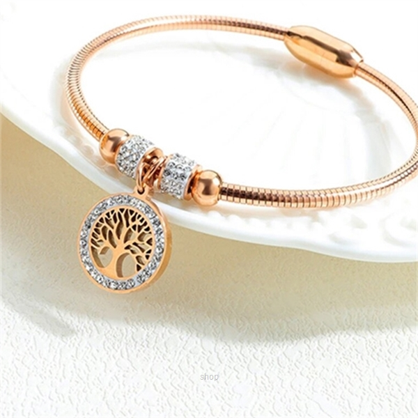 Celovis Eden Zirconia Family Tree with Magnetic Clasp Bangle (Rose Gold) - CBA-EDEN-RG-2