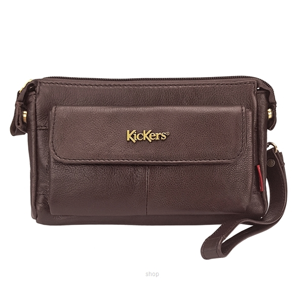 Kickers Genuine Leather Zip Top Clutch Bag with Mobile Phone Pocket (Brown) - KK13-IC78508CL-0