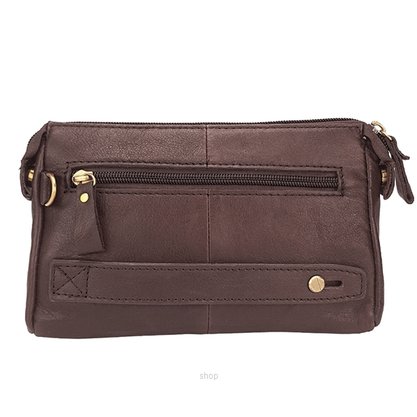 Kickers Genuine Leather Zip Top Clutch Bag with Mobile Phone Pocket (Brown) - KK13-IC78508CL-1
